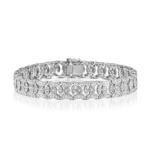 18K White Gold Diamond Pave Wide Bracelet