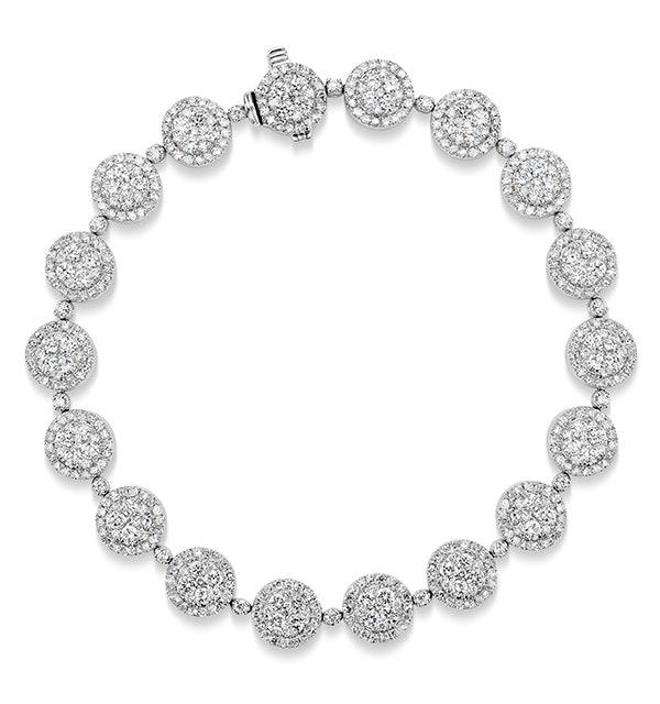 Halo Bracelet with 5CT of Diamonds in 18K White Gold - J3353 - image 1