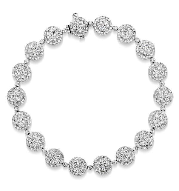 Halo Bracelet with 5CT of Diamonds in 18K White Gold - J3353 - image 1