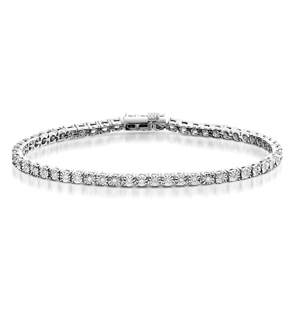 Diamond Tennis Bracelet 4ct Look 18K White Gold - J3355 - image 1