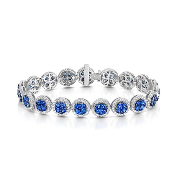 Diamond Halo and Sapphire Bracelet in 18K White Gold Bracelet J3357W - image 1