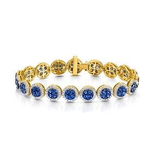 Diamond Halo and Sapphire Bracelet Set in 18K Gold Bracelet J3357