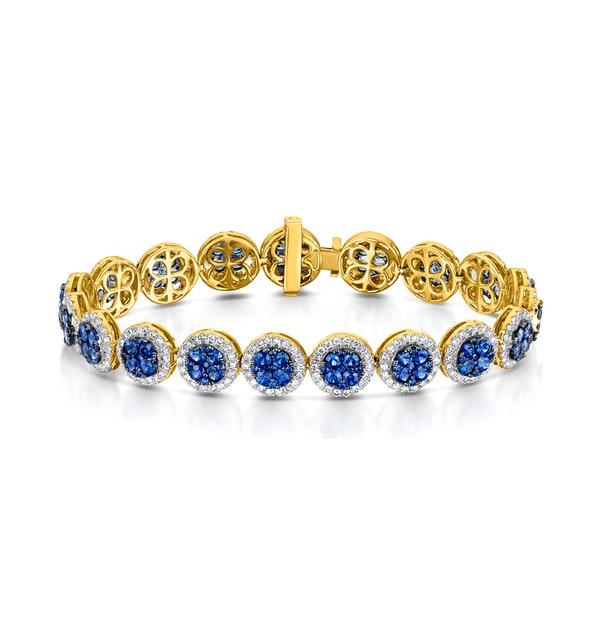 Diamond Halo and Sapphire Bracelet Set in 18K Gold Bracelet J3357 - image 1
