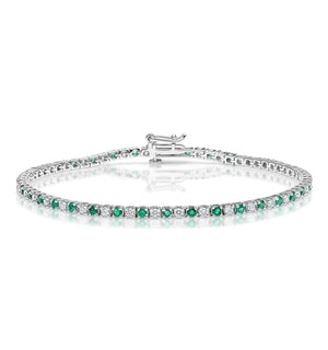 Emerald and 1ct Diamond Tennis Bracelet in 18K White Gold