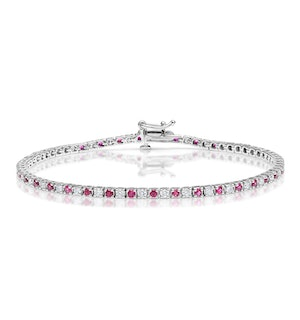 Ruby and 1ct Diamond Tennis Bracelet in 18K White Gold
