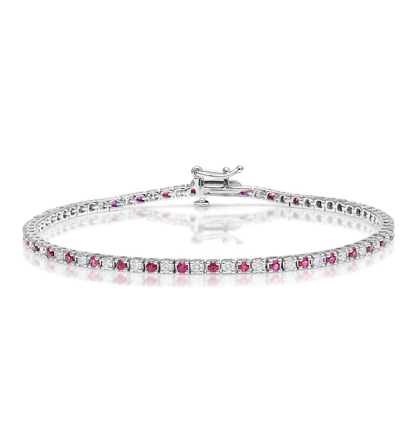 Ruby and 1ct Lab Diamond Tennis Bracelet in 9K White Gold - image 1