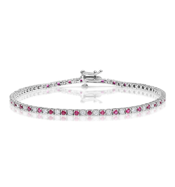 Ruby and 1ct Diamond Tennis Bracelet in 18K White Gold - image 1