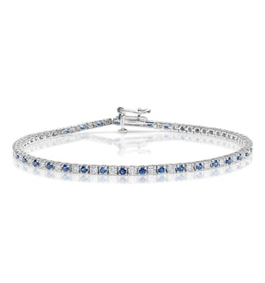 Blue Sapphire and 1ct Diamond Tennis Bracelet in 18K White Gold