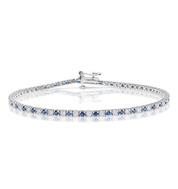 Blue Sapphire and 1ct Lab Diamond Tennis Bracelet in 9K White Gold - image 1