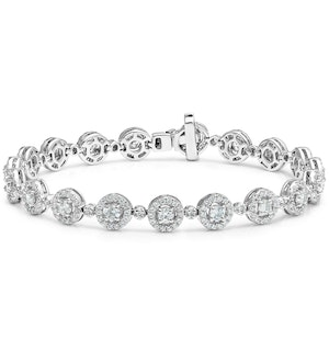 Diamond Halo Bracelet  3.75ct in 18K White Gold - Asteria Collection
