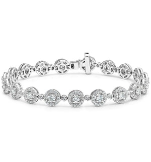 Diamond Halo Bracelet  6.78ct in 18K White Gold - Asteria Collection