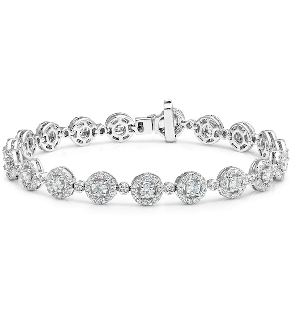 Diamond Halo Bracelet  3.75ct in 18K White Gold - Asteria Collection - image 1
