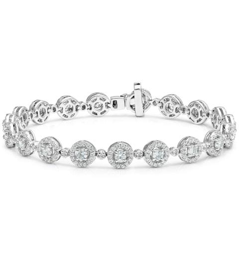 Diamond Halo Bracelet  3.75ct in 18K White Gold - Asteria Collection - image 1