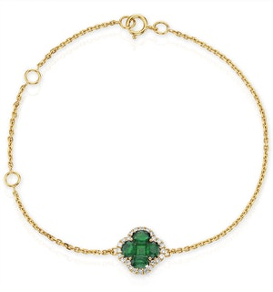 Emerald 1.01ct And Diamond 18K Yellow Gold Alegria Bracelet