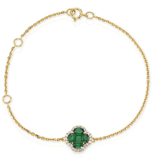 Emerald 1.01ct And Diamond 18K Yellow Gold Alegria Bracelet - image 1