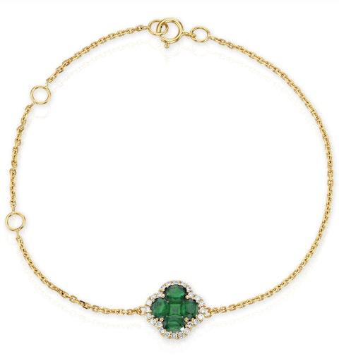 Emerald 1.01ct And Diamond 18K Yellow Gold Alegria Bracelet - image 1