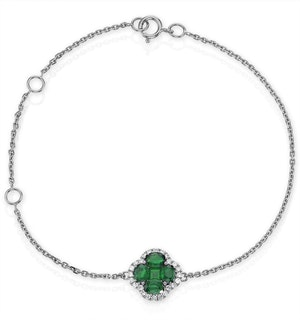 Emerald 1.01ct And Diamond 18K White Gold Alegria Bracelet