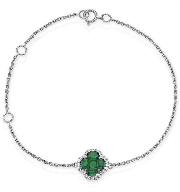 Emerald 1.01ct And Diamond 18K White Gold Alegria Bracelet - image 1