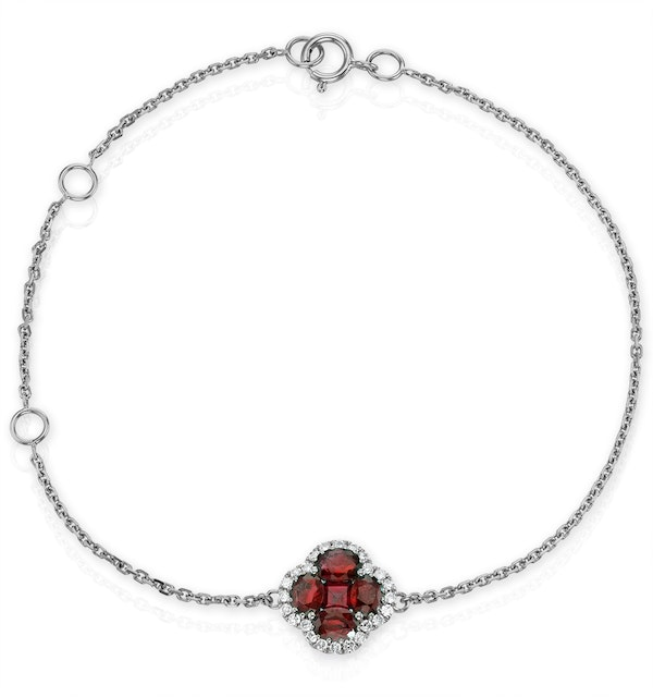 Ruby 1.18ct And Diamond 18K White Gold Alegria Bracelet - image 1