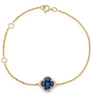 Sapphire 1.11ct And Diamond 18K Yellow Gold Alegria Bracelet