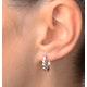 Hoop Earrings 0.07ct Diamond 9K White Gold - image 2