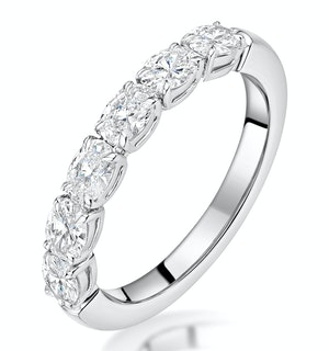 Helene Diamond Eternity Ring Oval Cut 0.87ct VVs 18KW Size H-I