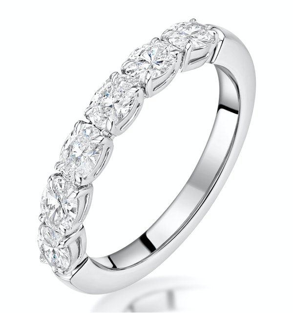 Helene Diamond Eternity Ring Oval Cut 1.25ct VVs 18KW Size O-W - image 1