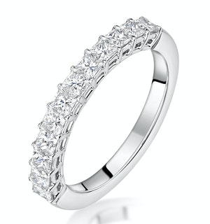 Clara Diamond Eternity Ring Princess Cut 0.88ct VVs 18KW Size H-I