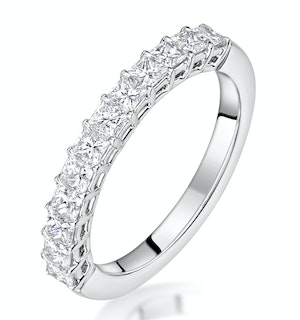 Clara Diamond Eternity Ring Princess Cut 1.14ct VVs Platinum Size O-W