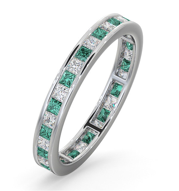 Eternity Ring Lauren Diamonds G/VS and Emerald 1.15CT - Platinum - image 1