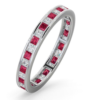 Eternity Ring Lauren Diamonds G/VS and Ruby 1.10CT - 18K White Gold