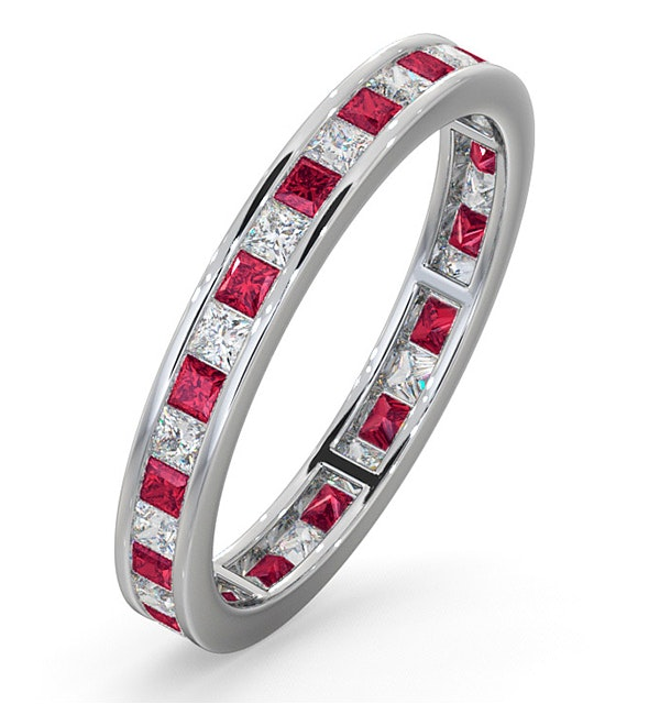 Eternity Ring Lauren Diamonds H/SI and Ruby 1.10CT - 18K White Gold - image 1