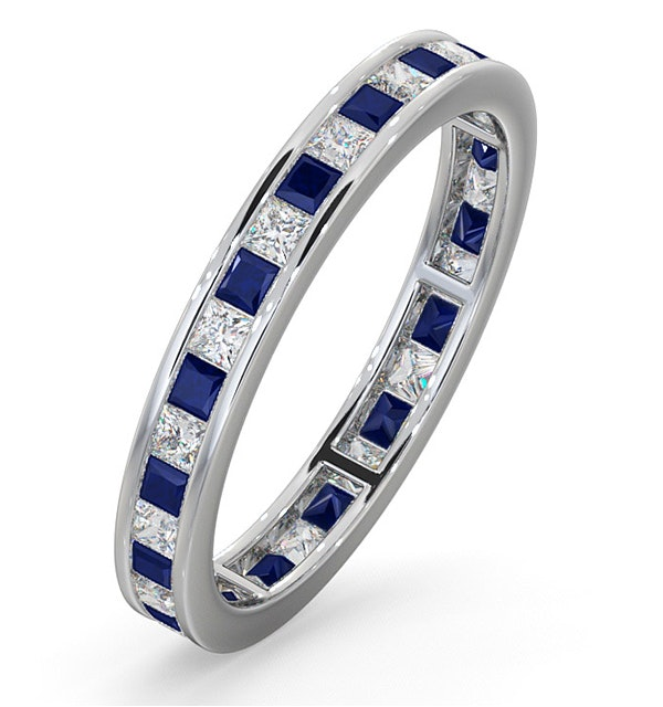 d89bb3962a1294 Eternity Ring Lauren Diamonds H/SI and Sapphire 1.20CT -18K White Gold -