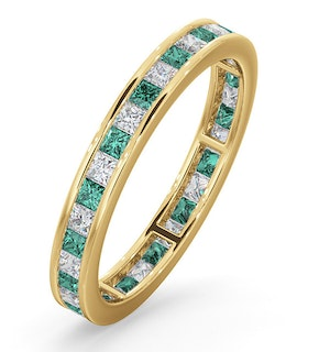 Eternity Ring Lauren Diamonds H/SI and Emerald 1.15CT in 18K Gold