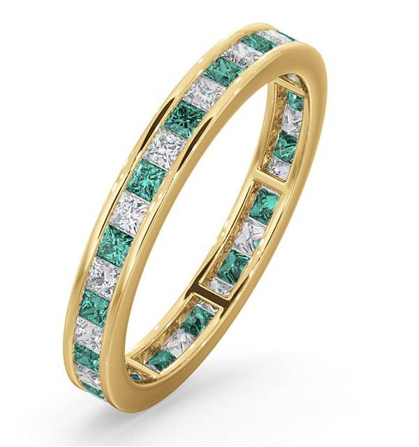 Eternity Ring Lauren Diamonds H/SI and Emerald 1.15CT in 18K Gold - image 1