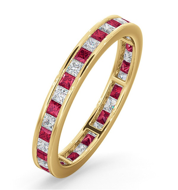 Eternity Ring Lauren Diamonds G/VS and Ruby 1.10CT in 18K Gold - image 1
