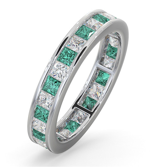Eternity Ring Lauren Diamonds H/SI and Emerald 2.20CT - 18K White Gold - image 1