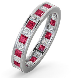Eternity Ring Lauren Diamonds H/SI and Ruby 2.25CT - 18K White Gold