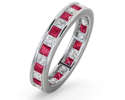 ruby platinum eternity rings