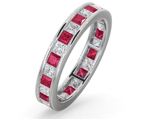 ruby platinum eternity rings