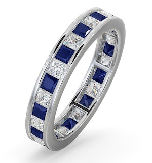 Eternity Ring Lauren Diamonds H/SI and Sapphire 2.30CT -18K White Gold