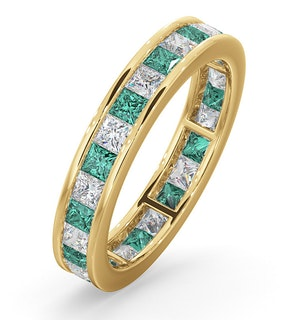 Eternity Ring Lauren Diamonds H/SI and Emerald 2.20CT in 18K Gold