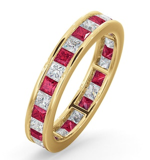Eternity Ring Lauren Diamonds G/VS and Ruby 2.25CT in 18K Gold