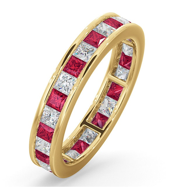 Eternity Ring Lauren Diamonds G/VS and Ruby 2.25CT in 18K Gold - image 1