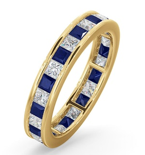 Eternity Ring Lauren Diamonds H/SI and Sapphire 2.30CT in 18K Gold