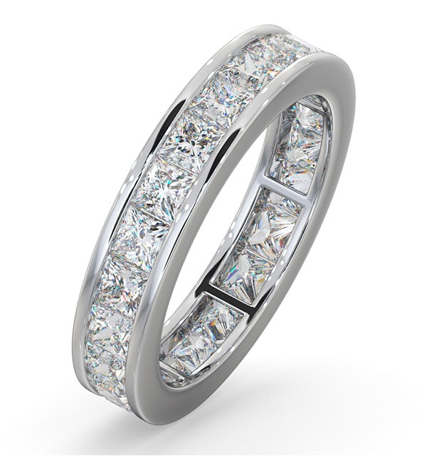 Mens 3ct G/Vs Diamond 18K White Gold Full Band Ring - image 1