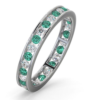 ETERNITY RING RAE DIAMONDS H/SI AND EMERALD 1.20CT - 18K WHITE GOLD