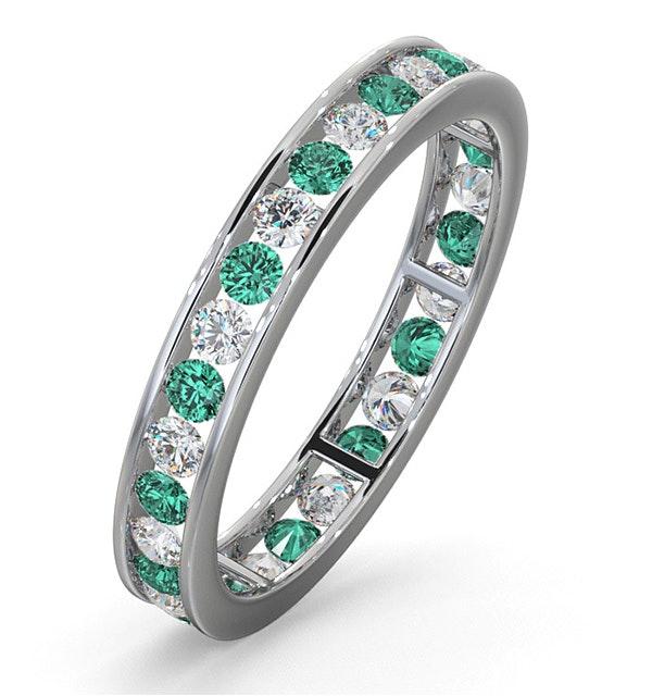 ETERNITY RING RAE DIAMONDS G/VS AND EMERALD 1.20CT - Platinum - image 1
