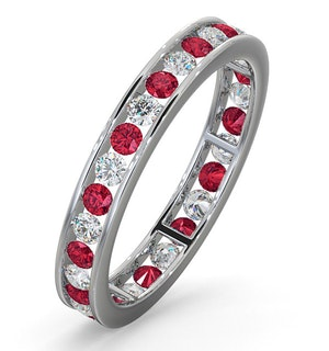 ETERNITY RING RAE DIAMONDS G/VS AND RUBY 1.30CT - 18K WHITE GOLD
