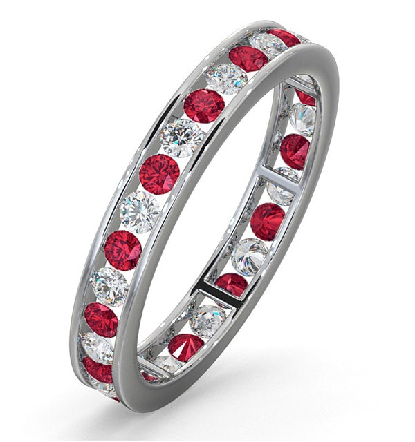 ETERNITY RING RAE DIAMONDS H/SI AND RUBY 1.30CT - Platinum - image 1